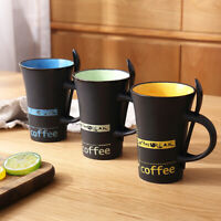 Cool Colorful coffee mug with spoon Ceramic Milk Water Tea Couples Cup Gift NEW