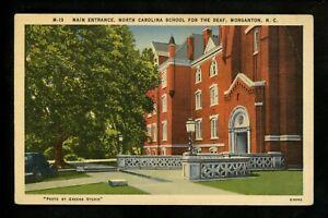 School postcard Morgantown, North Carolina NC School for the Deaf linen