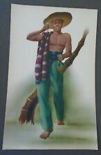 "Telo, Spanish Man With Glass & Bottle Of Wine, 16""x10"" Print 1940s"