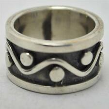 T19B07 Vintage Signed Taxco Deco Sty Geometric Wave Sterling Silver Ring Sz 6.25