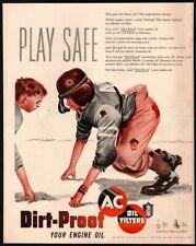 1950 AC Oil Filters - Old School Football - Boys Playing - Uniform VINTAGE AD