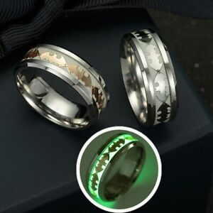 Jewelry Gifts Luminous Band Ring Batman Punk Stainless Steel Glow In The Dark