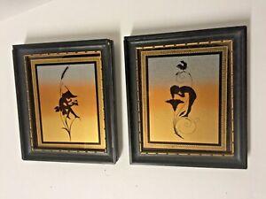 Pair Antique Old Art Nouveau 1930's Signed K DIEFENBACH Fairy Pixie Silhouette