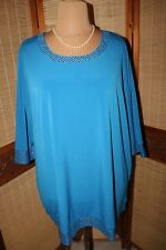 Damen  Shirt gr   58  78 cm weit   blau Pailletten party schön elegant