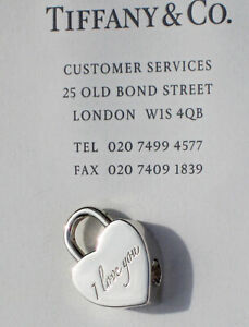 Tiffany & Co Sterling Silver Solid Padlock NOTES I LOVE YOU Heart Charm ONLY