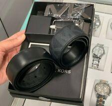 NIB Michael Kors Men 4 in 1 Belt Set Logo PVC Leather Vintage Black & Dark grey