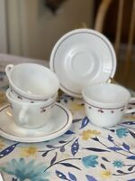 Set of 3 Coffee or Tea Cups Corelle Corning BURGUNDY ROSE Milk Glass W/ Saucers