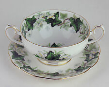6 x CREAM SOUP BOWLS & SAUCERS Vintage Royal Albert IVY LEA green vines