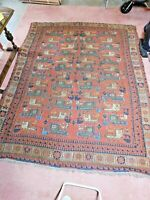 Hand-Knotted Rug 10.6 x 8.4  Wool India Antique RARE Multi Artisian created