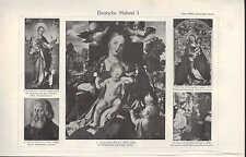 LITOGRAFICO 1907: Deutsche pittura. Dürer Lochner Schongauer Holbein PInstitute
