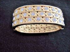 Swarovski Swan Signed Gold Tone  Clear Crystal Hinged Bracelet Bangle Mint 406