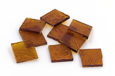 """500 Amber Amber Cathedral Vertigo 1/2"""" Square Hand Cut Stained Glass Mosaic Tile"""