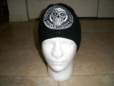 Harley Davidson HOG Inspired HANDMADE Crochet SUGAR SKULL Hat Cap Beanie BLACK