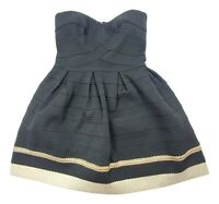 Sans Souci Women's Junior Small Black Gold Pleated Structured Strapless Dress