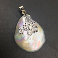 Handmade Baroque Large White KASUMI Pearl Sterling Silver S925 Style Pendant