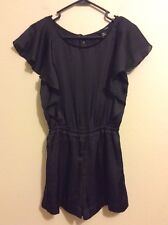 H&M BLACK SHEER RUFFLED TOP SILKY LINED ROMPER SIZE 2