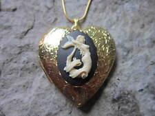 MERMAID CAMEO GOLD PLATED HEART SHAPED LOCKET - TROPICAL, VACATION, CRUISE