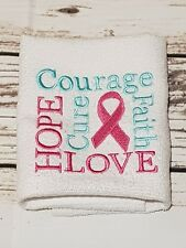 Embroidered Facewasher -Breast Cancer Pink Ribbon......pink and aqua,,,