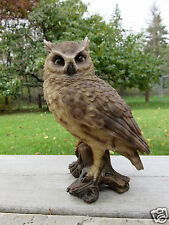 "6.75"" SCREECH OWL FIGURINE ON TREE STUMP HOOTER STATUE WISE OLD OWL ornament new"