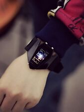 Black Men Fashion Metal Sport Digital LED Light Alarm Wrist DIAL Watch Silicone