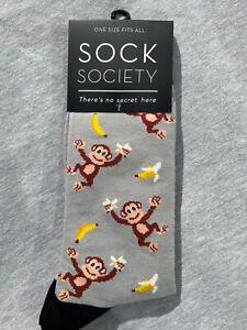 Monkeys Grey SOCK SOCIETY Novelty Funky  Ankle Socks One Size Fit All
