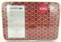 Lacoste 100% Brushed Twill King 4pc Sheet Set In Red & White Tennis Geo NEW NIP
