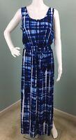 NWT Womens Calvin Klein Blue/White Sleeveless Drawstring Waist Maxi Dress Sz 10