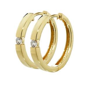 Paar 333 Gelbgold Klappcreolen Ohrringen 18,4 x 2,7mm Zirkonia Quadratisch 4752