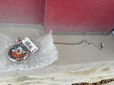 VINTAGE WINDUP FOSSIL CIRCUS CLOWN POCKET WATCH TIN  TOY LTD EDITION  - S4