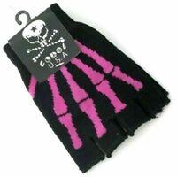 PINK Skeleton Bones Fingerless Gloves Knit Black for Texting Hand Warmer Adult