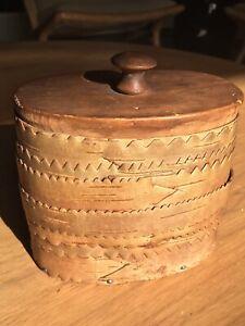 Antique Birch Bark Box Tramp Art Folk Art Handmade 1946 Idaho