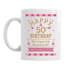50th Birthday Happy Gift Present Idea Women Ladies Female Lady Keepsake 50 Mug