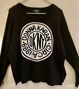 DKNY Donna Karan Logo Sweater Pullover Black/White Women's Size XL