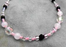 "Pink ROSE QUARTZ Black Onyx & Clear Bead Toggle Clasp Bracelet 7.5"" Length"