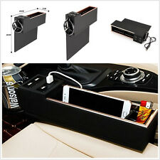 Car Left Side Seat Storage Box Catcher Gap Filler Coin Collector Cup Holder +USB