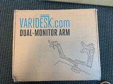 Varidesk Dual Monitor Arm Stand Full Mount Silver & Black Brand New Open Box