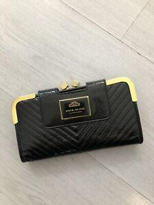 River Island Black Patent Faux Leather Large Wallet / Purse