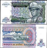 ZAIRE 100,000 100000 ZAIRES 1992 P 41 UNC