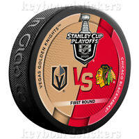 2020 Stanley Cup Playoffs Dueling Hockey Puck Vegas Golden Knights vs Blackhawks