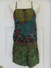 LOUBIA GREEN MULTI COTTON STRAPPY PLAYSUIT, SIZE S, BRAND NEW WITH TAGS
