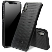 QIALINO Mesh Holes Genuine Leather Coated PC Hard Case for iPhone X/10 5.8 inch