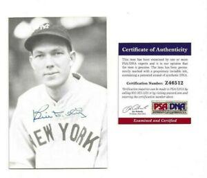 Bill Dickey Autographed New York Yankees Baseball Postcard Photo CloseUp PSA COA