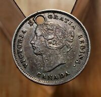 1871 Canada (AU) Holed 5 Cents Silver Foreign Coin