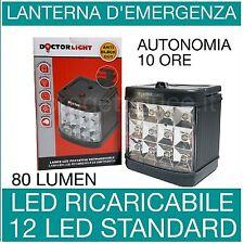LAMPADA EMERGENZA RICARICABILE 12 LED PORTATILE KUBO VELAMP AUTONOMIA 10 ORE