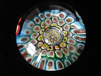 Glass Blue Green Red Yellow White Floral Millefiori Paperweight #5