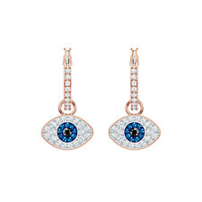 Swarovski Symbolic Evil Eye Hoop Earrings, Blue, Rose Gold Tone Plated 5425857