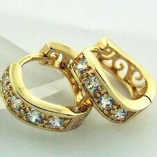 G/F Gold Diamond Simulated Design Fs3An574 Earrings Huggie Hoop Real 18K Yellow
