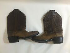 """Brown Girls FAMA WESTERN COWBOY LEATHER BOOTS  SIZE US 10 Children's Youth 9"""" H"""