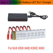 6 pcs 3.7V 750mAh Battery+JST 6in1 Plug Charger For MJX X400,X300C,X500,X800 RC