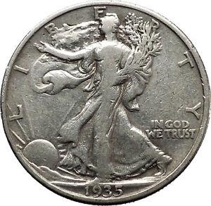 1935 WALKING LIBERTY Half Dollar Bald Eagle United States Silver Coin i45156